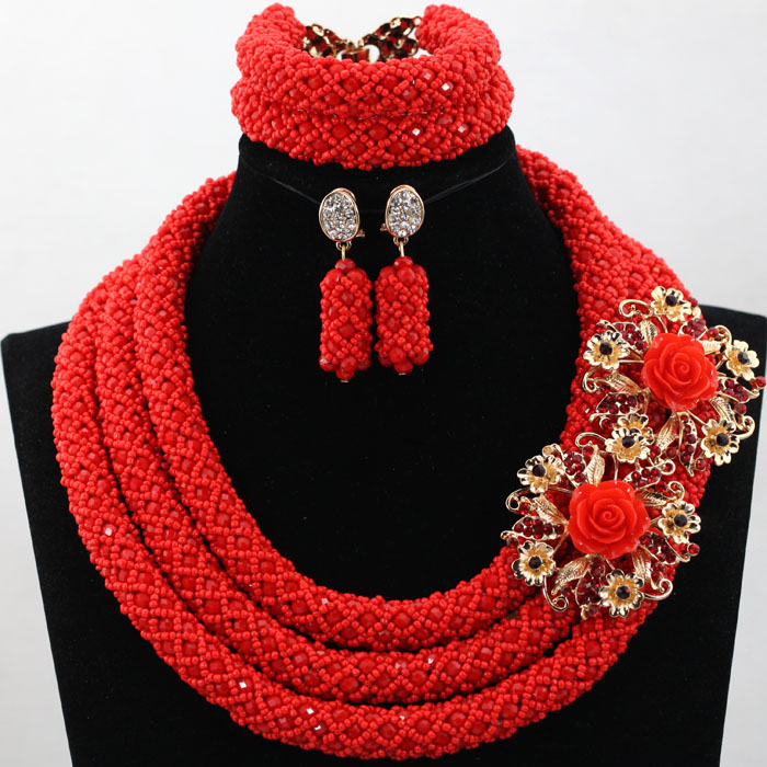 Fantastic Bright Red Nigrian Wedding African Beads Jewelry Set Tomato Red Crystal Statement Necklace Set for Women 2016 WD117(China (Mainland))