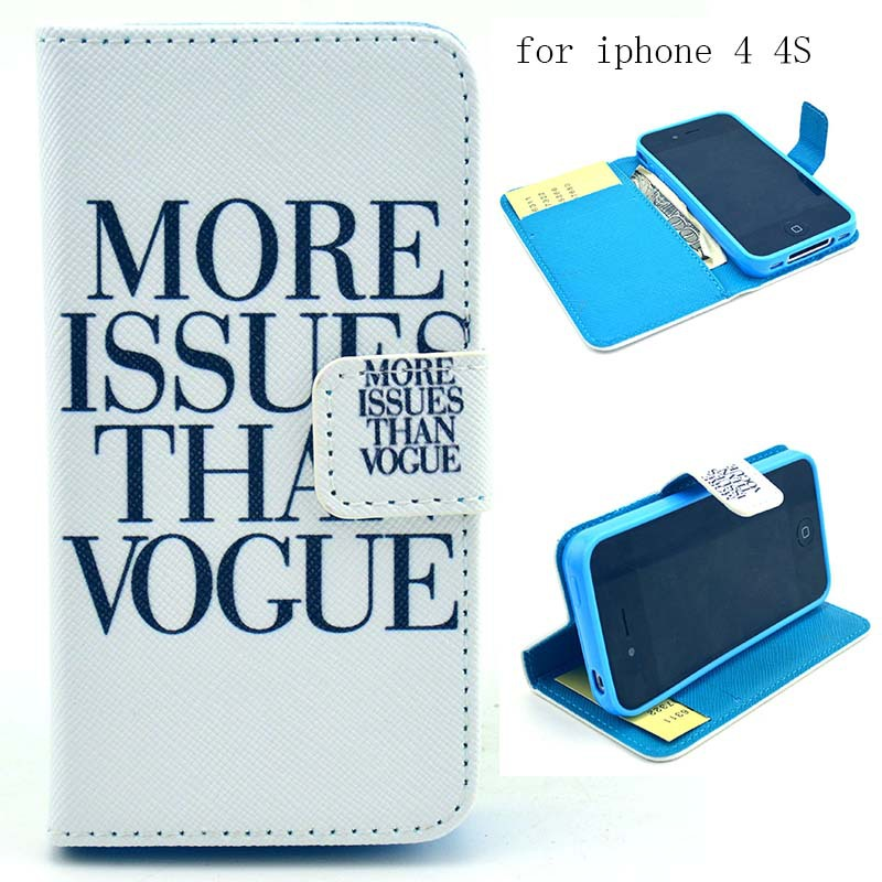 Las Vegas Pattern PU Leather Stand Slot Wallet Phone Case Cover For iPhone 4 4S 4G 4GS(China (Mainland))