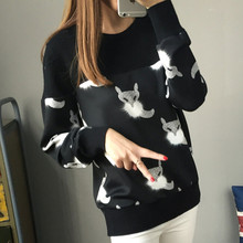 2016 new hot sale women's spring autumn winter print knit sweaters woman Fox printing pullovers shirts(China (Mainland))