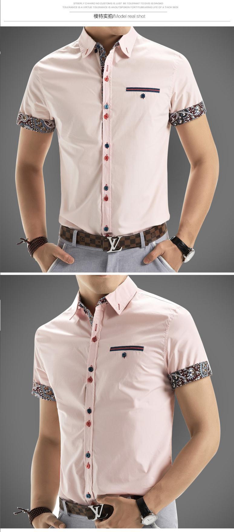 2015 Men Shirt New Brand Shirts Short Sleeve Casual Shirt Men Slim Fit Brand Design Formal Shirt Camisa Social Chemise Homme7