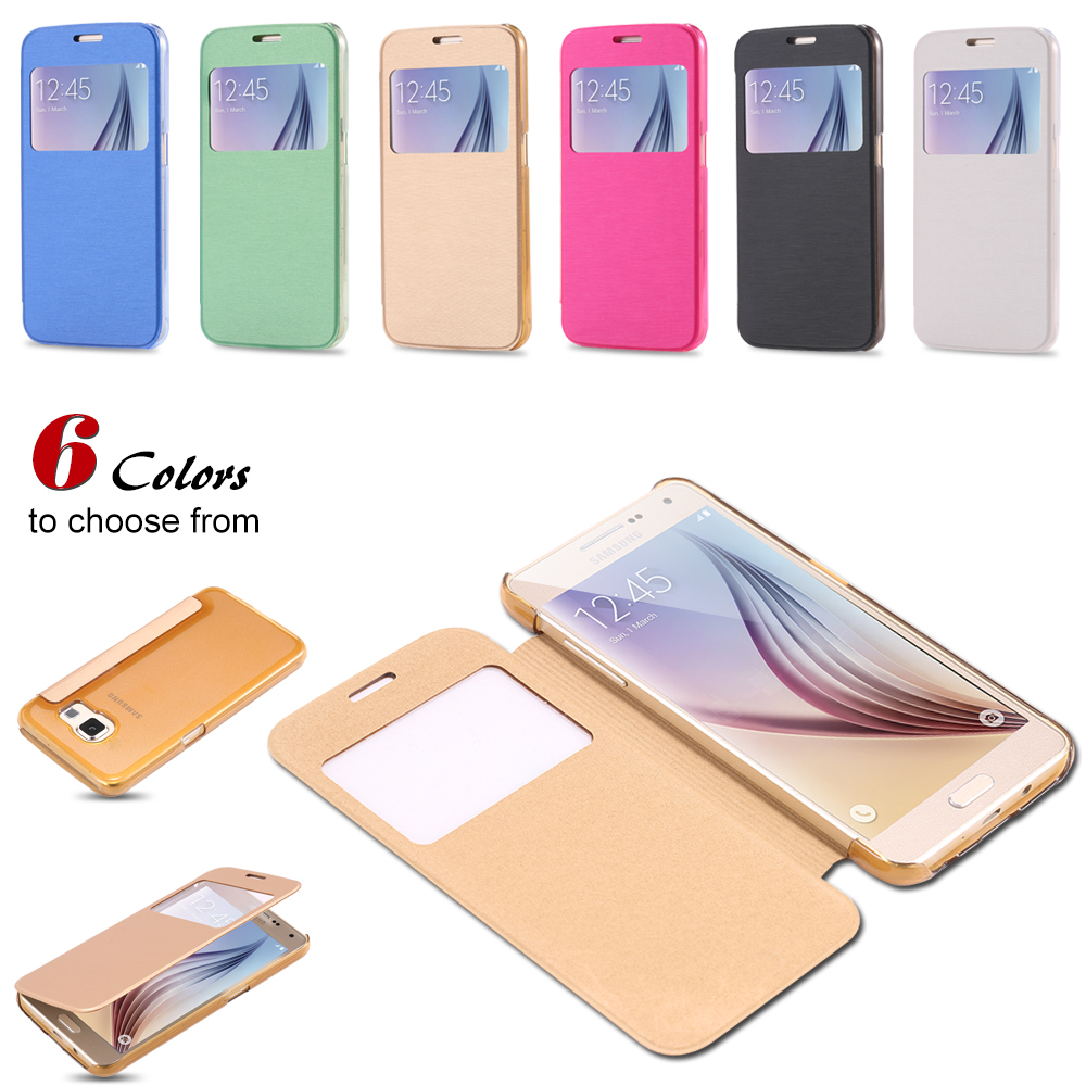 For Galaxy S6 Edge Cases View Window PU Leather Flip Case For Samsung Galaxy S6 Edge G9250 Smart Slide To Answer Phone Cover Bag(China (Mainland))