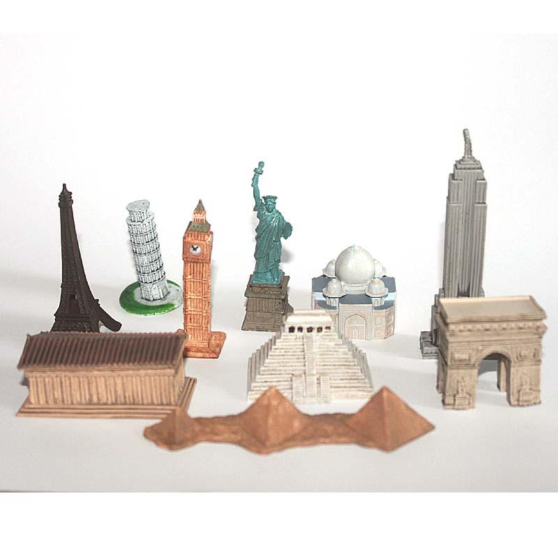 10 pcs/set World Famous Building 4-8cm Small Toy Figurines Eiffel Tower Taj Mahal The Parthenon Decoration Model Free shippping(China (Mainland))