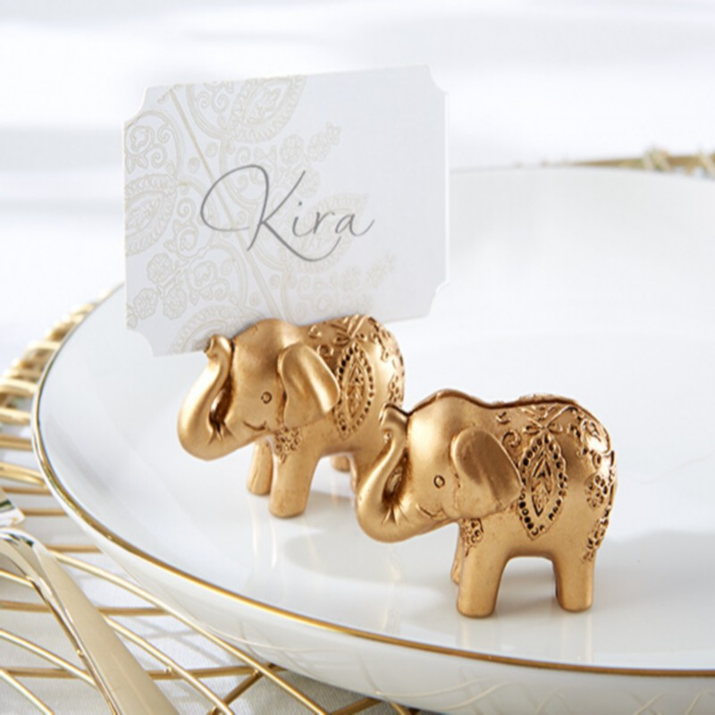 Pcs lot lucky gold elephant place card holders table