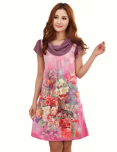 2015 Fashion Female Pink Summer Dress,Short Sleeves Graceful Women Knee-Length Silk Dress Printed For Ladies(China (Mainland))