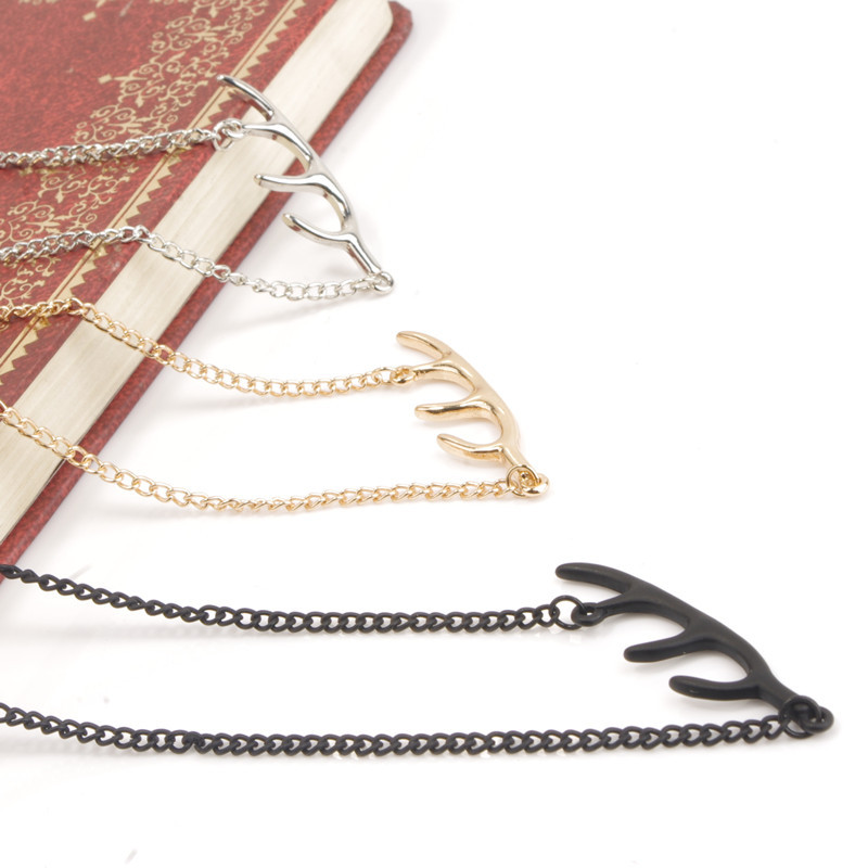 Fashionable street snap model Metal antlers warm poison ah chain necklace clavicle(China (Mainland))