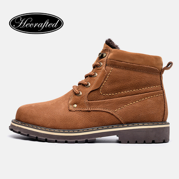Full grain leather Men Winter Boots Size 38~50 Russian style Handmade Warm Plus Size Men Winter Shoes