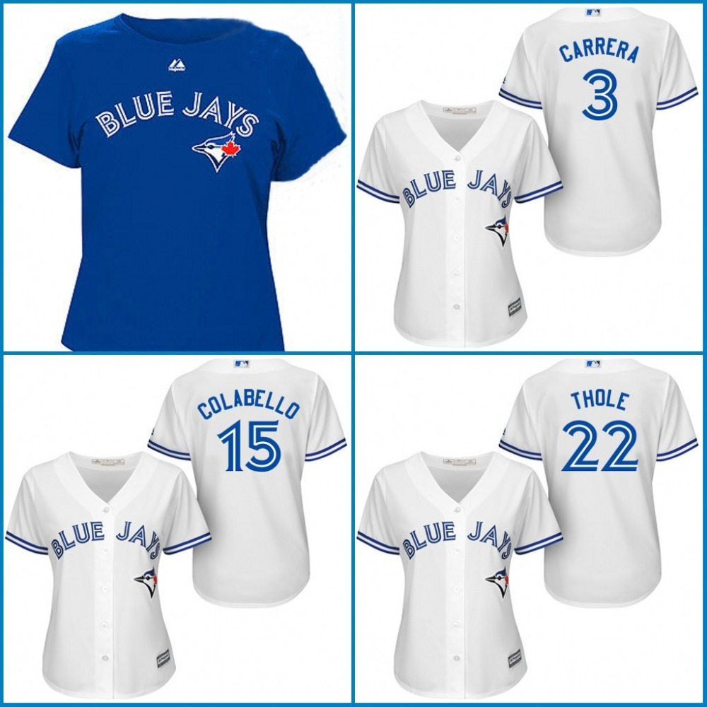 2015 New Womens Jerseys 3 Ezequiel Carrera,15 Chris Colabello,22 Josh Thole Toronto Blue Jays Embroidery Logos Baseball Jersey<br><br>Aliexpress