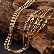 "Hot Sale Bulk Wholesale Lots 5 pcs 1mm 18K Yellow Gold Plated Fashion Women's Men's Snake Chains Necklace for DIY Pendant 16-30""(China (Mainland))"