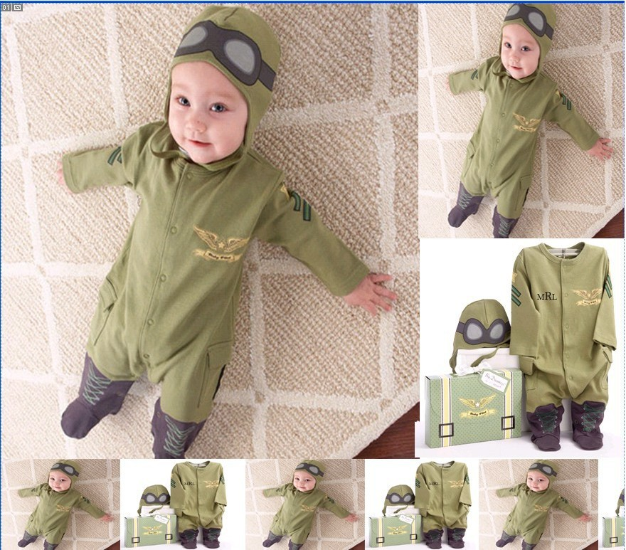 SR004 Free shipping new style baby rompers kids suits one-piece hoodies pilot design jumpsuits infant clothing sets retail(China (Mainland))
