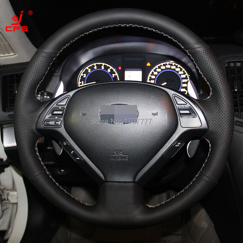 2013 Infiniti Ex Interior: Black Leather Hand Stitched Car Steering Wheel Cover For