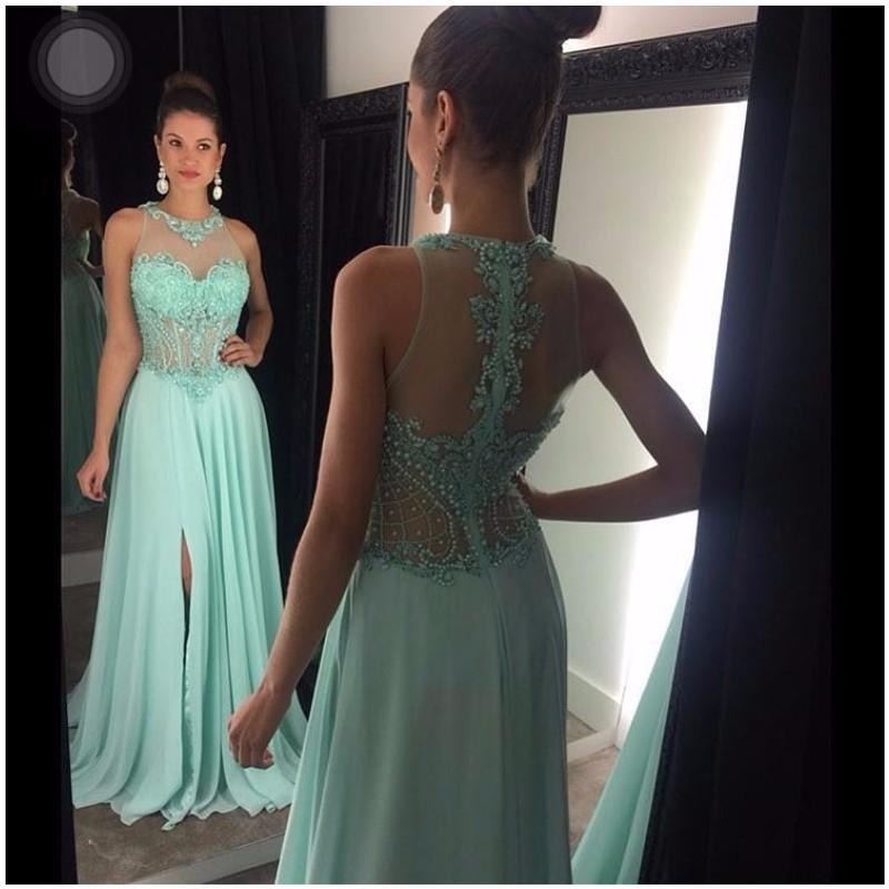 Мода светло-голубой вечерние платья 2016 o шеи кристалл бисером шифоновое женщины театрализованное платье для формальных выпускного вечера партии