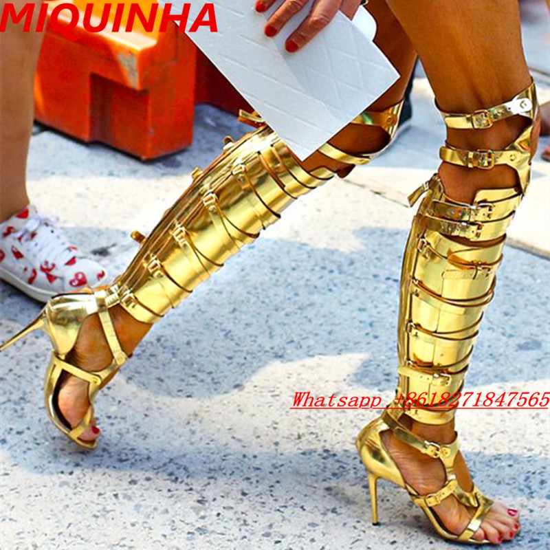 4 Colors Classical Thigh High Boots Sandalias Open Toe Cutouts Buckles PU Nice Booties Gladiator Sandals High Heels Women Shoes(China (Mainland))