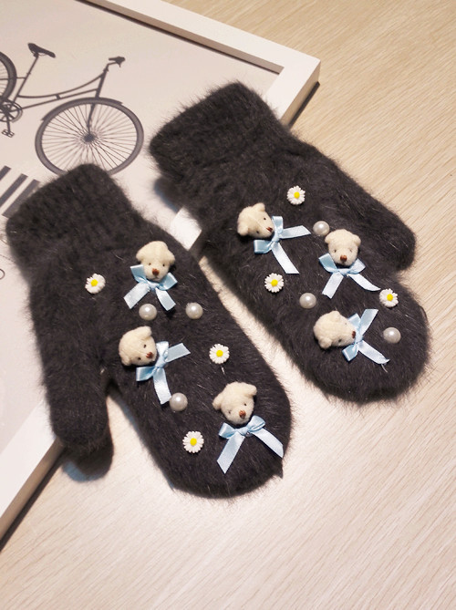 Winter New style cartoon bear with pearl rabbit hair fur mittens sweet and fashion keep warm gloves for female(China (Mainland))