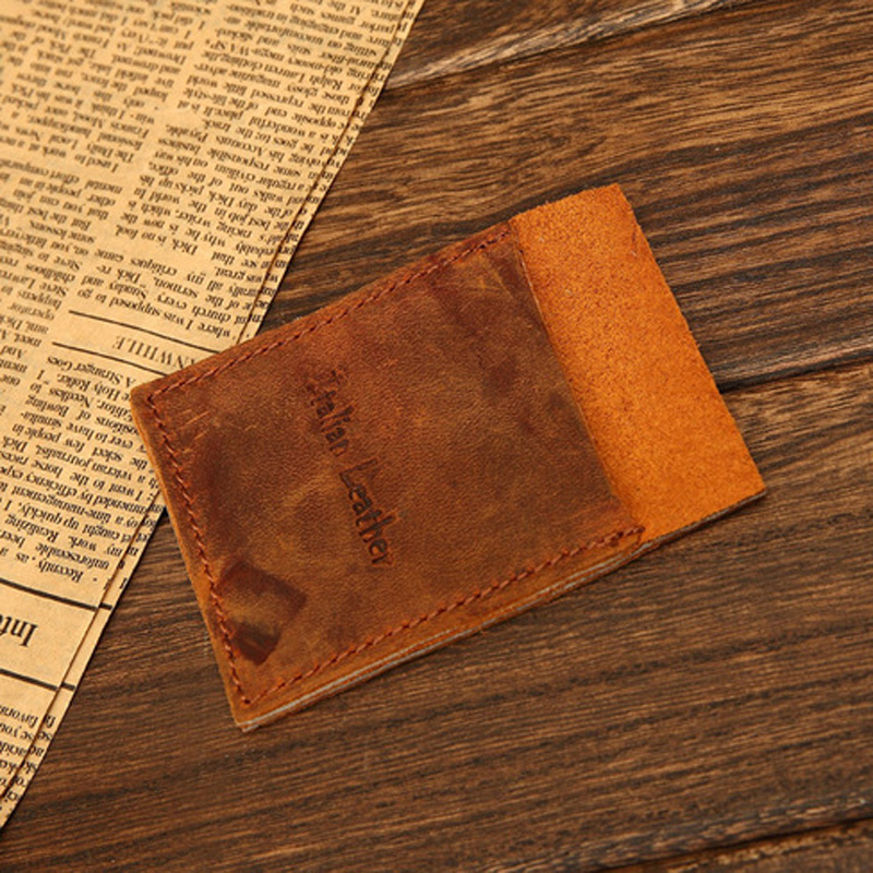 Vintage Italian Leather Card holder real leather card wallet ID leather case raw natural Credit Card Case(China (Mainland))
