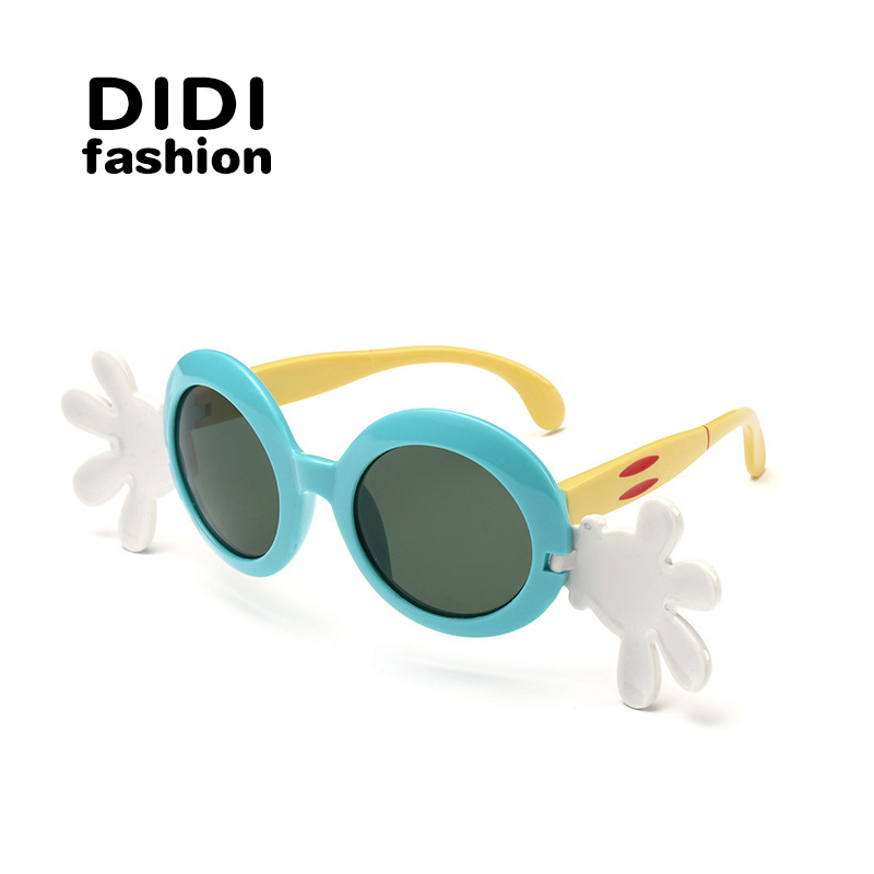 DIDI Girls Sunglasses Polarized Kids Boys Cute Circle Cartoon Eyewear Goggle HD Children UV400 Oculos Infantil Hipster H124