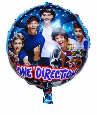 wholesale 45*45cm one direction balloons foil balloon 18inch round mylar balloon helium balloon decoration baloons 50pcs/lot(China (Mainland))