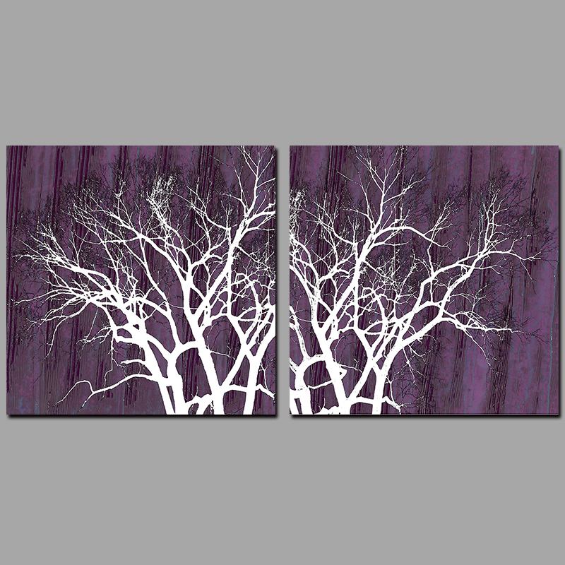 2pcs Modern abstract wall purple pictures decoration forest trees Canvas Painting wall Art print living room home decor unframed(China (Mainland))