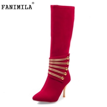 Buy Women Pointed toe High Heel Knee Boot Weddding Winter Warm Ladies Long Boot Fashion Footwear Heels Shoes Size 34-43 for $25.98 in AliExpress store