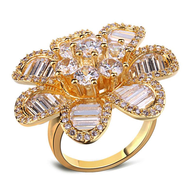 Hawaiian Style Women Rings Big Flower 31 mm Wide Rhodium Gold-color Rectangle Round Cut Synthetic Cubic Zirconia