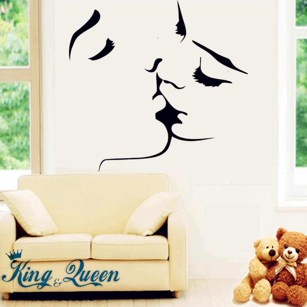 Starting Affectionate Kiss Of Love Wall Art Mural Wall Stickers Home Decor Stikers For Wall Decoration Bedroom Accessories DIY(China (Mainland))