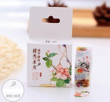 Boxed 1Roll=15mm*10m Ancientry Flower Pattern Japanese Washi Decorative Adhesive Tape DIY Masking Paper Label Sticker Gift - Hello Cute Panda store