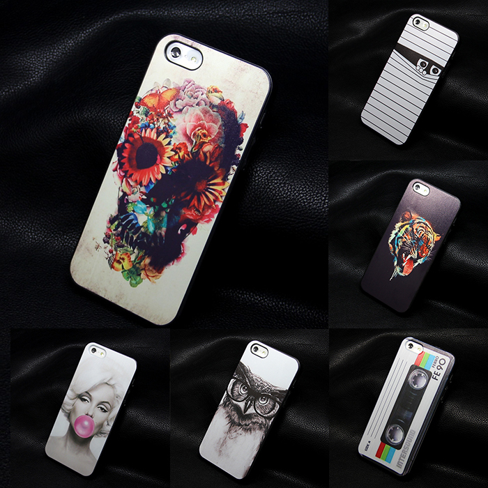 hard black For iphone 4 4s cases new design Flowers Skull cell phone cute Skull caso back case for iphone4 4s(China (Mainland))