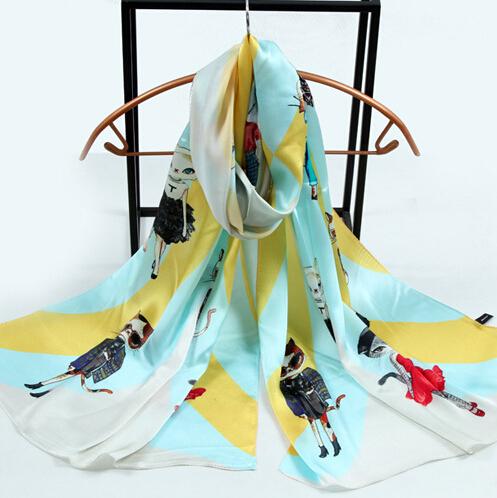 180X55CM 2016 Hot Sale 100% silk satin scarves popular cat print silk scarf long design lovely cat real silk scarves female(China (Mainland))