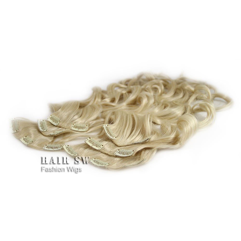free shipping Clip In Hair Extensions Themal Fibre 14 110g 24# Light Golden blonde Curly<br><br>Aliexpress