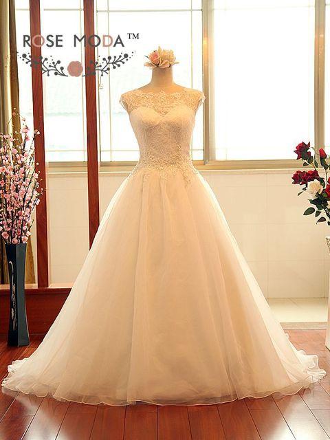 Элегантный принцесса линия свадебное платье с замочная скважина вернуться иллюзия ...