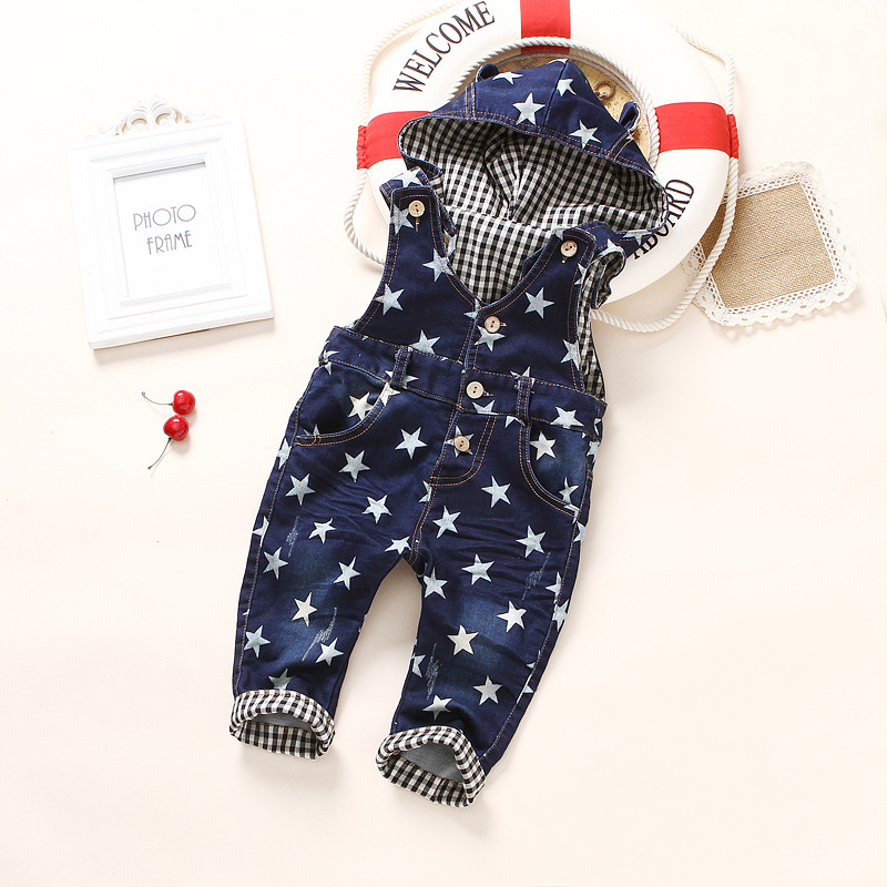 Fashion Spring Autumn Kids Rompers Child Denim Jumpsuits Children Jeans Pants for Baby Boys Overalls star