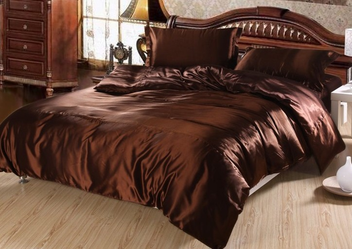 7pcs Luxury brown silk bedding set satin sheets super king queen full twin size duvet cover brand bed bedsheet quilt bedspreads(China (Mainland))