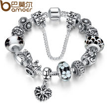 BAMOER Authentic Silver Heart Charm Bracelet with Safety Chain for Women Original Jewelry PA1865(China (Mainland))