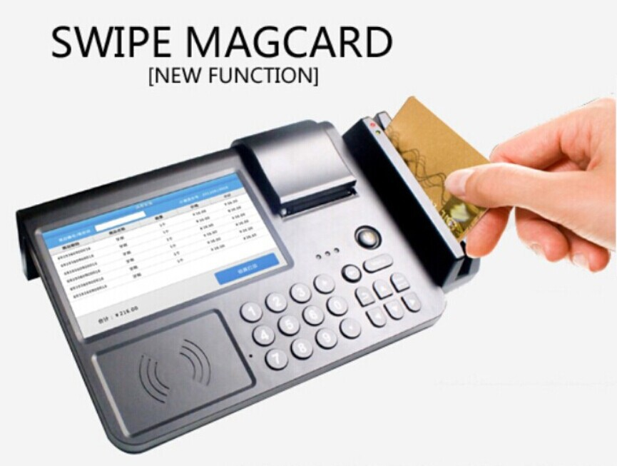 "7"" Touch Screen Android Pos Terminal WiFi Online Cash Register Countertop Business Payment SmartTerminal with RFID/Wifi/3G/ PSAM(China (Mainland))"
