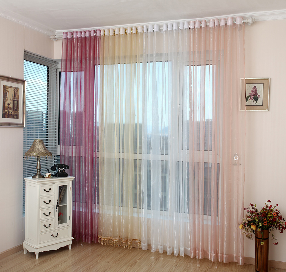 Balcony voile sheer organza curtains modern hom deco for Balcony curtains