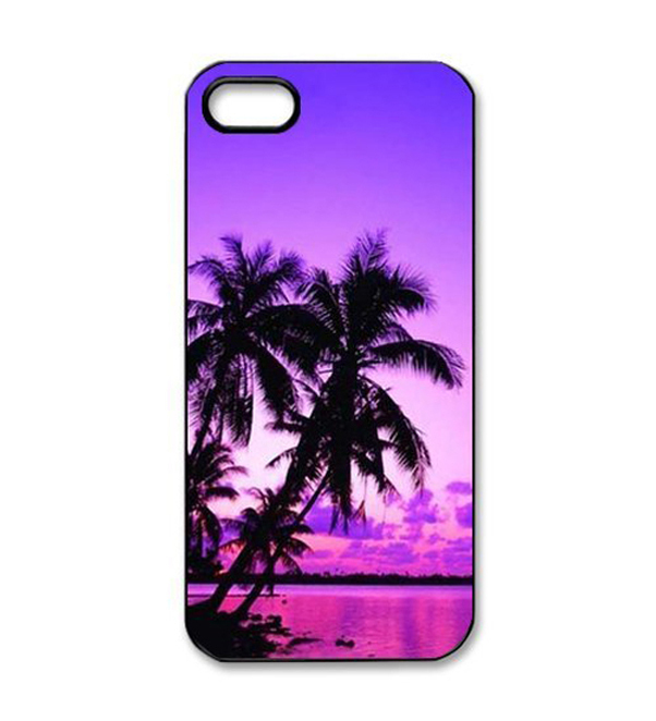 Beautiful Purple Beach Sunset View Custom Printed Hard Plastic Protective Phone Case Cover For Iphone 4 4S 5 5S 5C 6 6 Plus(China (Mainland))