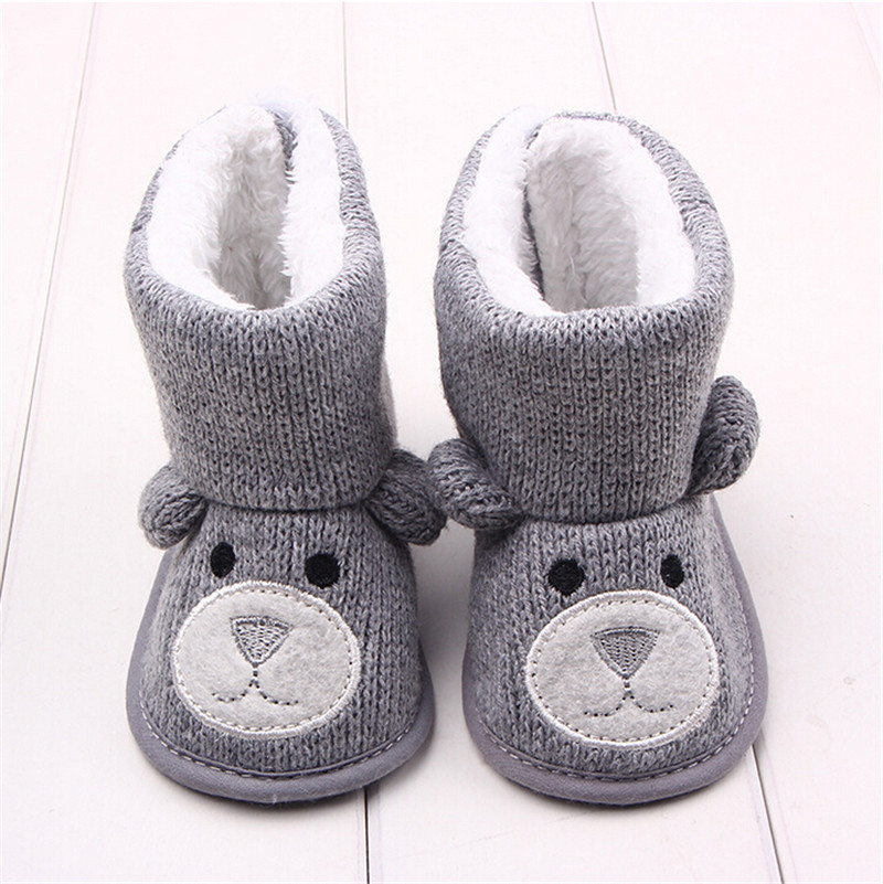 Winter Baby Snow Boots Warm Toddler shoes Baby Girl Shoes Knitted Cartoon Bear first walker Infant Newborn Baby Shoes Footwear(China (Mainland))