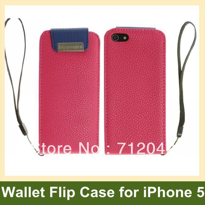 Luxury Wallet Case for iPhone 5 5s Lichee Pattern Leather Flip Case for iPhone 5 5s with Magnetic Snap 10pcs/lot Free Shipping