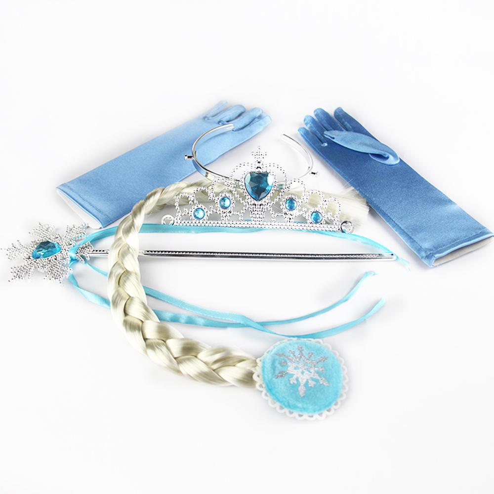 Гаджет  4pcs/set Elsa Anna Snowflakes Party Girl Gift Magic Wand + Rhinestone Hair Crown + Glove+Hair Braid baby girl accessories None Одежда и аксессуары