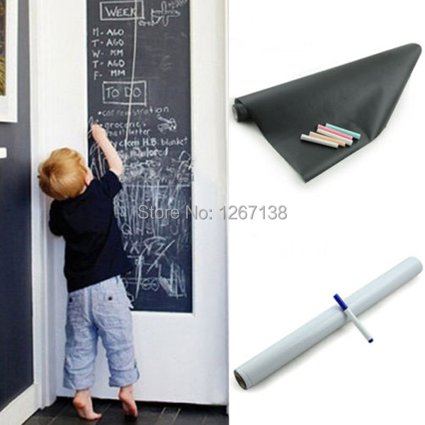 Vinyl Chalkboard Wall Sticker Removable Blackboard Decals / White Board 200X45CM 9aP6t8(China (Mainland))