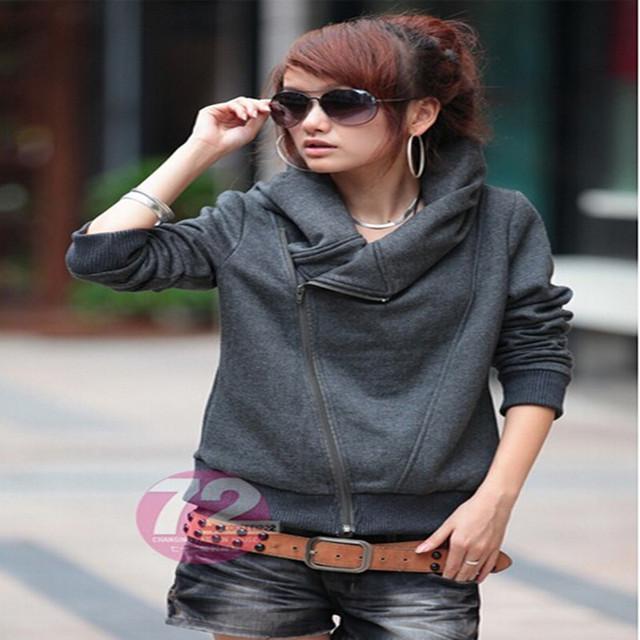 Fashion Hoodies Women's Zip Up Inclined Zipper Design Autumn Thin Sweatshirts Casual Wear CO-034