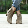 New Woman fashion Genuine Nubuck leather Round Toe shoes Cow Muscle sole Crude heel Martin Solid