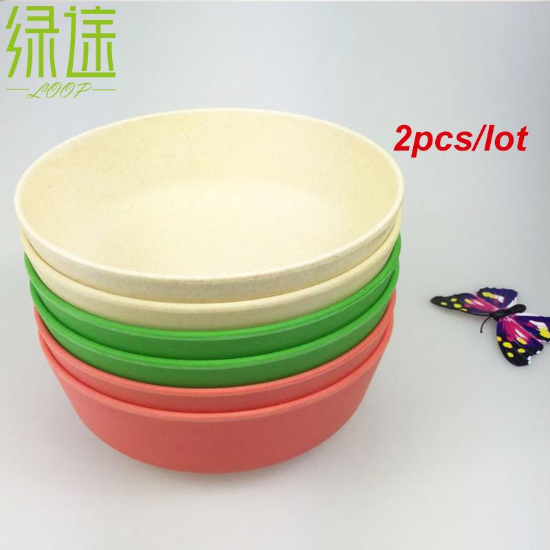 2 PCS China Natural de venda quente cozinha pratos e prato de sopa branco conjunto de mesa de frutas salada de arroz Bowls para crianças(China (Mainland))