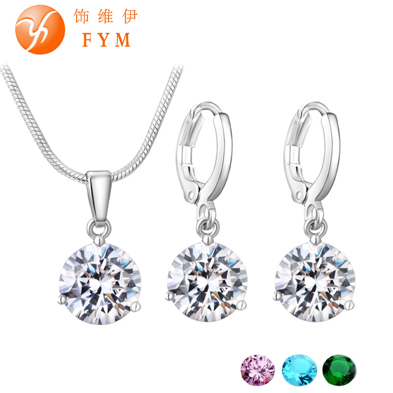 21 Colors Jewelry Sets for Women Round Cubic Zircon Hypoallergenic Copper Necklace/Earrings Jewelry Sets Wholesale(China (Mainland))