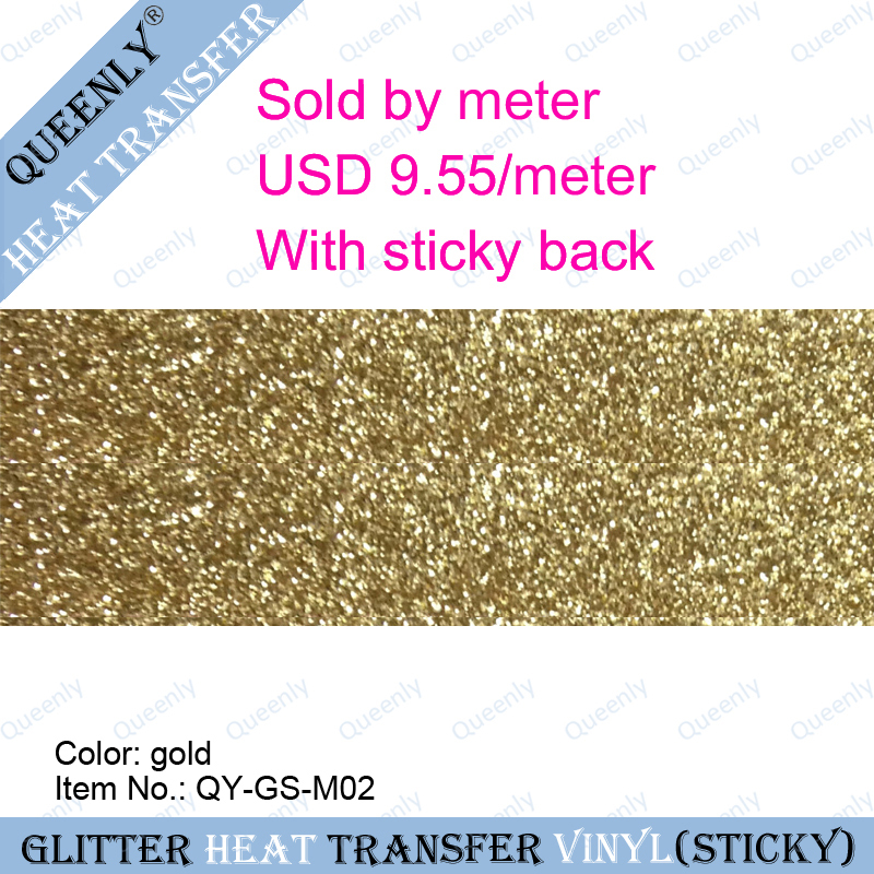 Sticky back gold glitter heat transfer vinyl heat transfer sheet sold by meter 5 meters/pack width 50cm(China (Mainland))