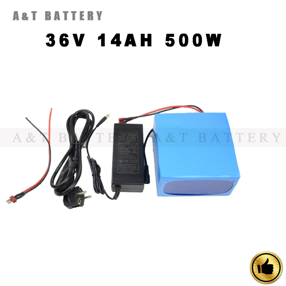 36v Electric Bicycle Battery 14Ah 500Watt E-Bike Battery 36V with 42v 2A charger,15A BMS 36v Lithium Battery Free Shipping(China (Mainland))