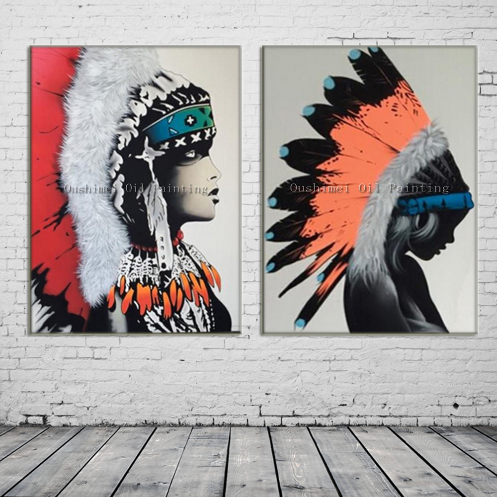 Hand painted modern indians picture on canvas wall art for Painting feathers on canvas
