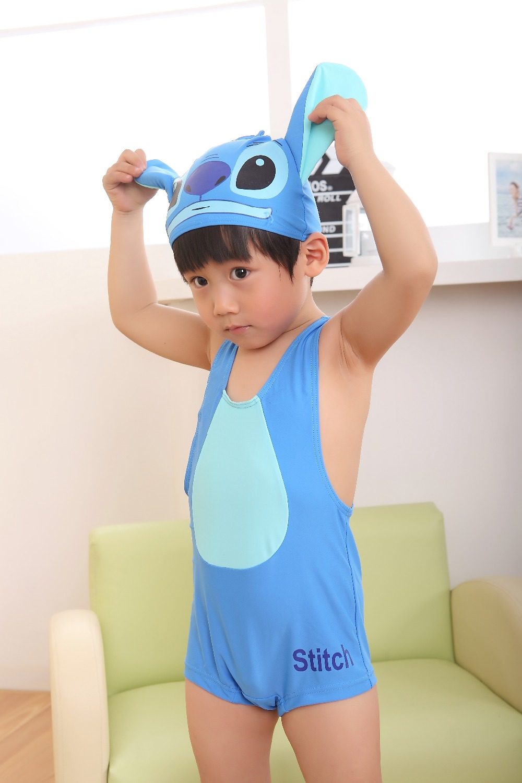 Wholesale Novelty Stitch 2-5Y Baby Boy Swimwear Boys Bathing Suits Beachwear Cute Character Boy Swimwear(China (Mainland))