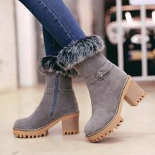 QZYERAI Nuovo caldo di inverno delle donne stivali di alta-tacco alto stivali da neve pelliccia delle donne stivali caldi alla moda di scarpe da donna(China)