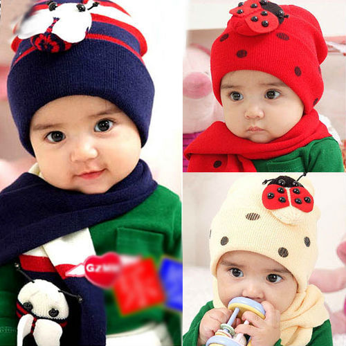 New Children's Baby's Ladybird Beetle Winter Warm Cute Hat Caps + Scarf Gift(China (Mainland))