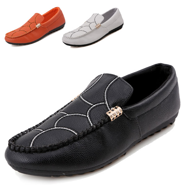 Genuine Leather Loafers Shoes Men Fashion Casual Flats Driving Mocassins Rubber Soles Slip-On Soft  -  CN Shoes store